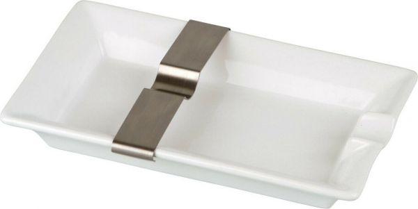 Cigarrenascher Keramik weiss 1 Ablage + flexible Ablage aus Metall