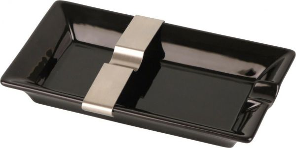 Cigarrenascher Keramik schwarz 1 Ablage + flexible Ablage aus Metall