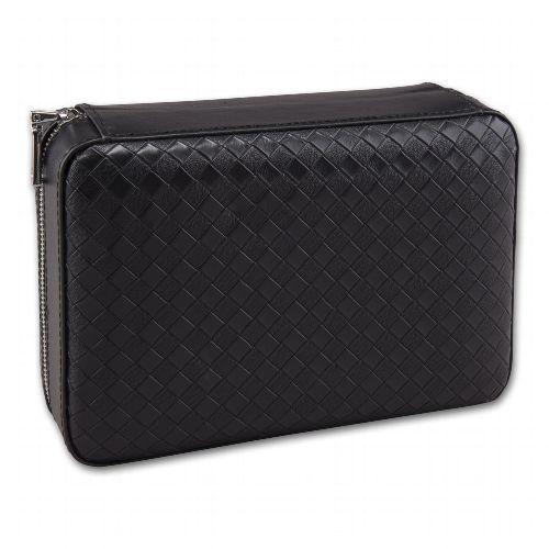 Reise-Humidor Leder schwarz 20x13,5x7,5 cm für 4 Zigarren Klimasystem