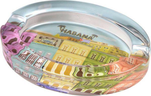 """Cigarrenascher Glas oval mit Cuba Design """"Habana"""" 2 Ablagen 20 x 15 x 3.5 cm"""