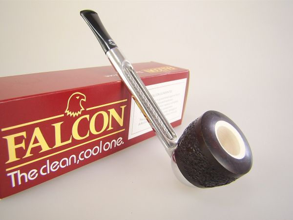 Falcon England Pipe Pfeife Chrome Gerade mit Dover Kopf Rustiziert Meerschaum