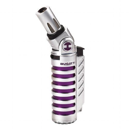 Feuerzeug Jet BUGATTI Vulcan chrom satiniert/violett
